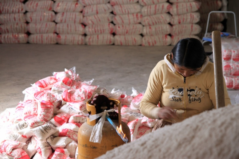 Eine Indigena in der Salzfabrik