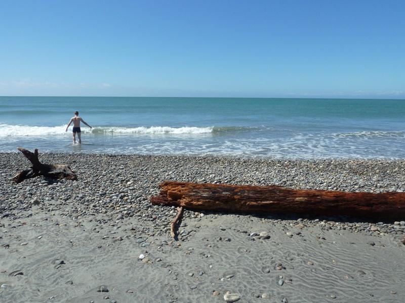Samy traut sich ins eiskalte Meer, Westport