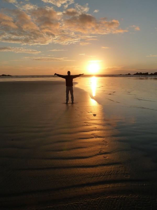 Sonnenuntergang, Tauranga Bay bei Cape Foulwind
