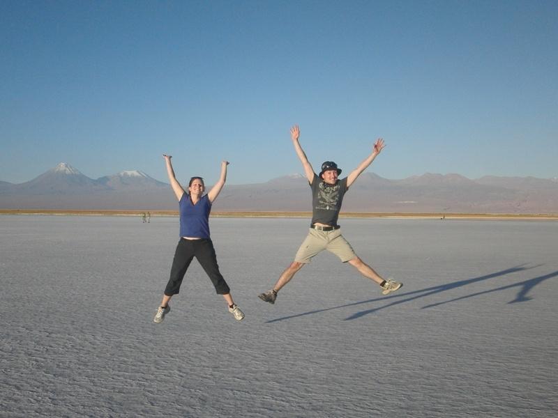 "Freudensprung in der ""Salar de Atacama"""