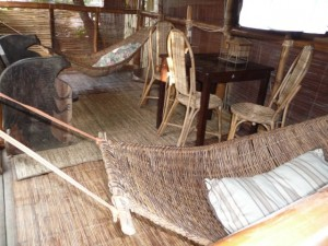 the terrace with hammocks, plugs and WiFi