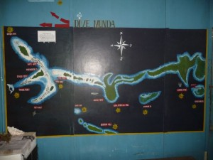 the map with the diving spot´s