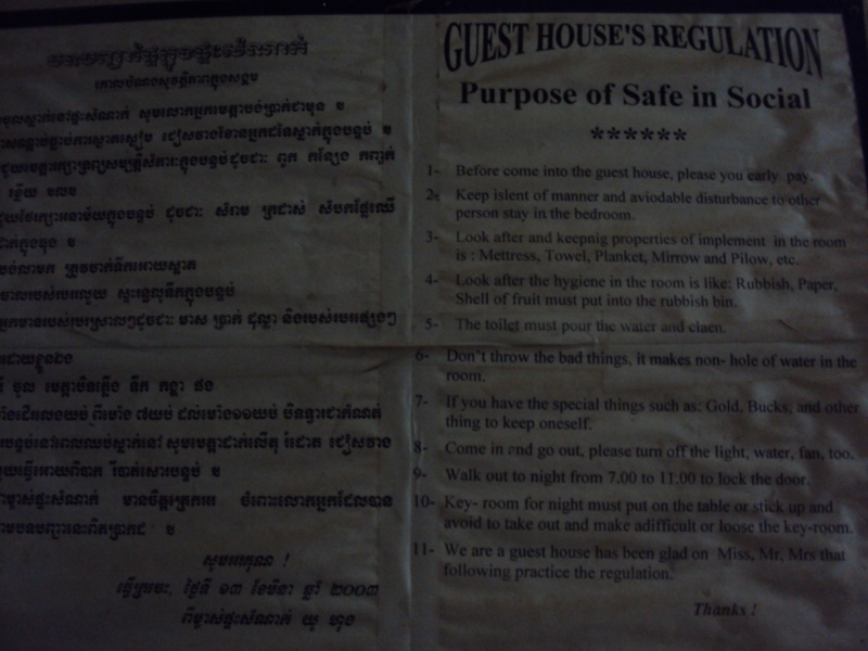 Ah so. Ah ja. Alles klar. Die Hausordnung in unserem guesthouse in Kratie.