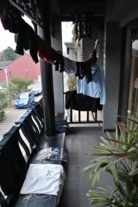 Unser Balkon nach dem Wäschewaschen