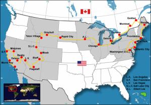 Karte des kompletten Roadtrip durch Nordamerika