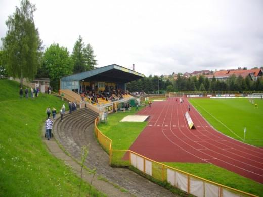 Das Stadion FK Banik Sokolov.