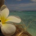 Blume im Haar nahe am Wasser…lol