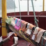 Für Uli… unsere Lepralätzchenkollektion auf dem Schiff