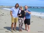 Angie, Micha und Thomas am Strand von Camps Bay